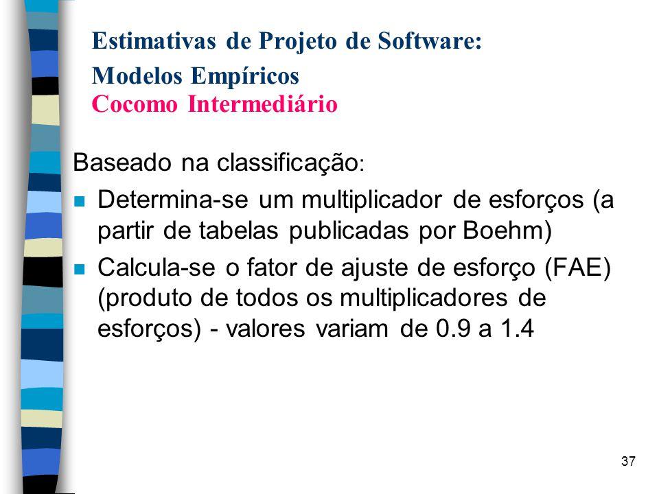 37 Estimativas de Projeto de Software: Modelos Empíricos Cocomo Intermediário Baseado na classificação : n Determina-se um multiplicador de esforços (