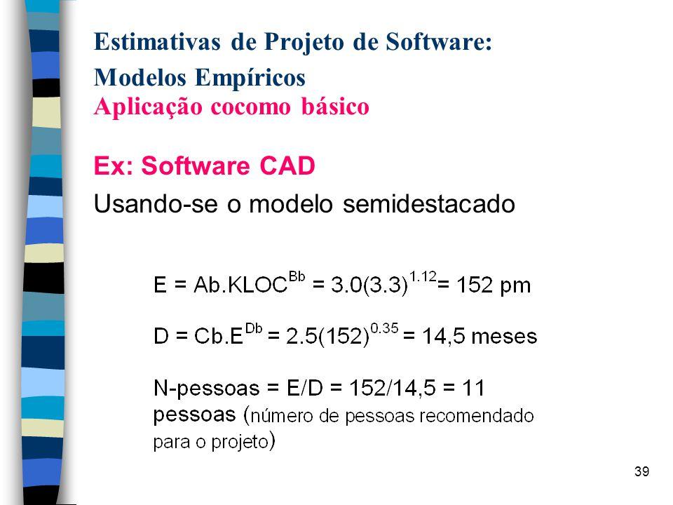 40 Estimativas de Projeto de Software: Modelos Empíricos (2) Modelo de Estimativa de Putnam n Modelo dinâmico de múltiplas variáveis n Pressupõe uma distribuição de esforço específica ao longo do projeto n Modelo construído à partir de distribuição de mão de obra em grandes projetos