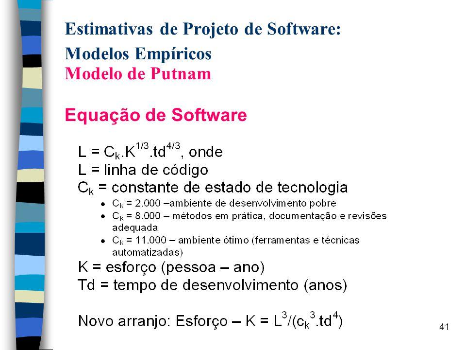 41 Estimativas de Projeto de Software: Modelos Empíricos Modelo de Putnam Equação de Software