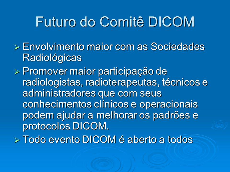 Futuro do Comitê DICOM  Envolvimento maior com as Sociedades Radiológicas  Promover maior participação de radiologistas, radioterapeutas, técnicos e administradores que com seus conhecimentos clínicos e operacionais podem ajudar a melhorar os padrões e protocolos DICOM.