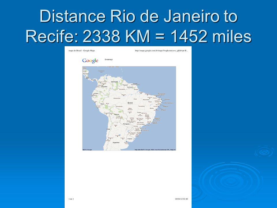 Distance Rio de Janeiro to Recife: 2338 KM = 1452 miles