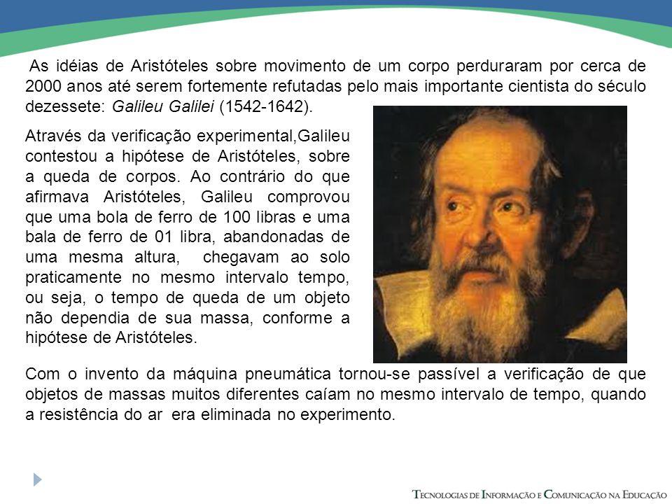 As idéias de Aristóteles sobre movimento de um corpo perduraram por cerca de 2000 anos até serem fortemente refutadas pelo mais importante cientista do século dezessete: Galileu Galilei (1542-1642).