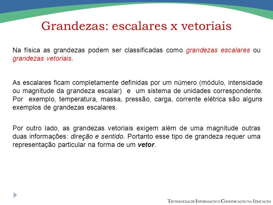 Grandezas: escalares x vetoriais Na física as grandezas podem ser classificadas como grandezas escalares ou grandezas vetoriais.