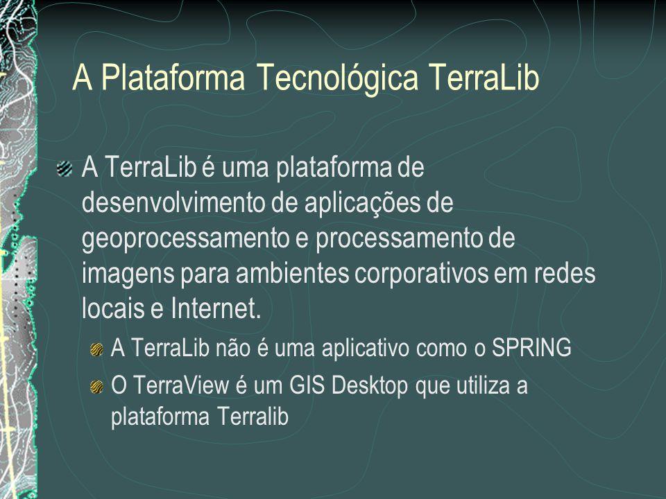 A Plataforma Tecnológica TerraLib A TerraLib é uma plataforma de desenvolvimento de aplicações de geoprocessamento e processamento de imagens para ambientes corporativos em redes locais e Internet.