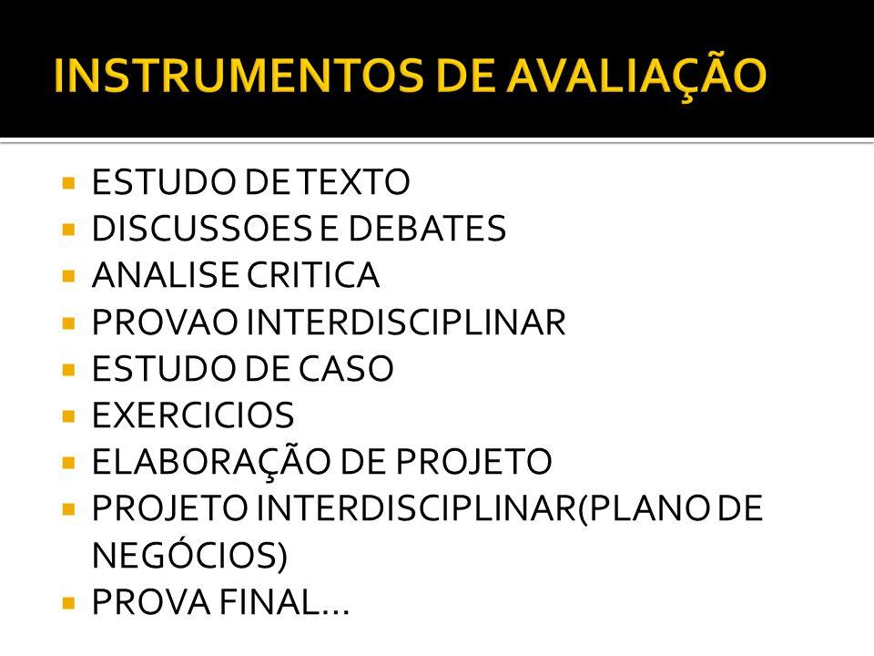  PARTICIPAÇÃO  ESFORÇO  DIÁLOGO  ASSIDUIDADE  COMPROMETIMENTO  DESEMPENHO  RESULTADOS