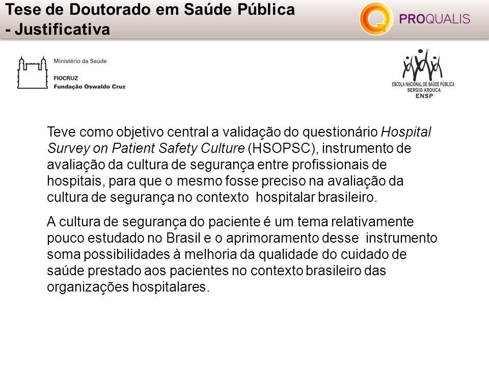 Teve como objetivo central a validação do questionário Hospital Survey on Patient Safety Culture (HSOPSC), instrumento de avaliação da cultura de segu