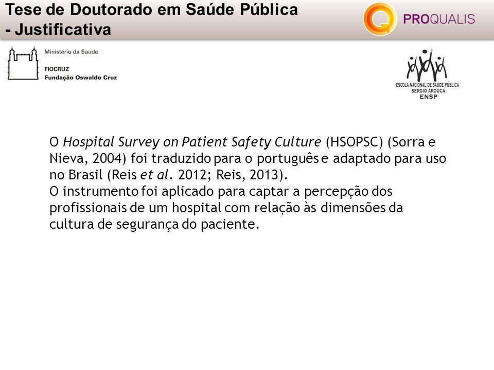 O Hospital Survey on Patient Safety Culture (HSOPSC) (Sorra e Nieva, 2004) foi traduzido para o português e adaptado para uso no Brasil (Reis et al. 2