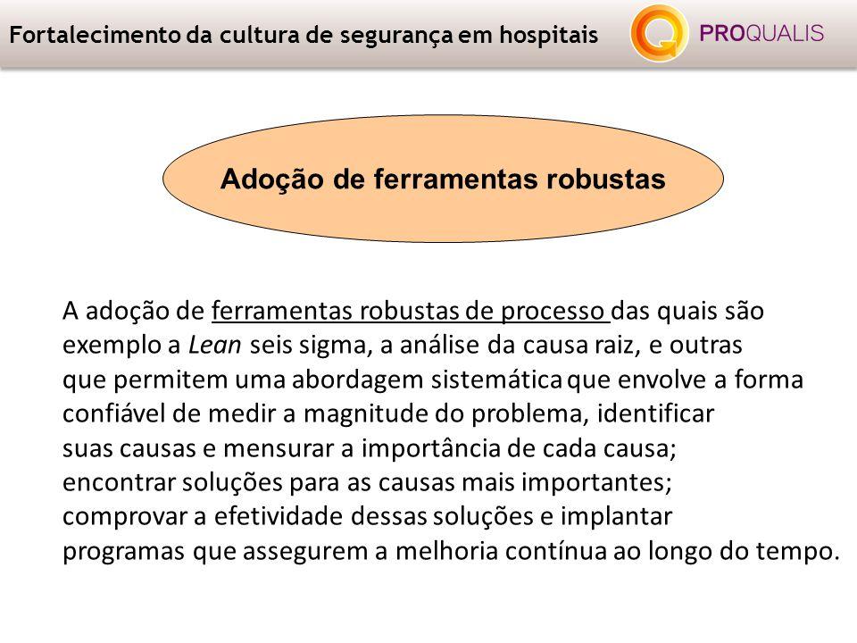 Fortalecimento da cultura de segurança em hospitais A adoção de ferramentas robustas de processo das quais são exemplo a Lean seis sigma, a análise da