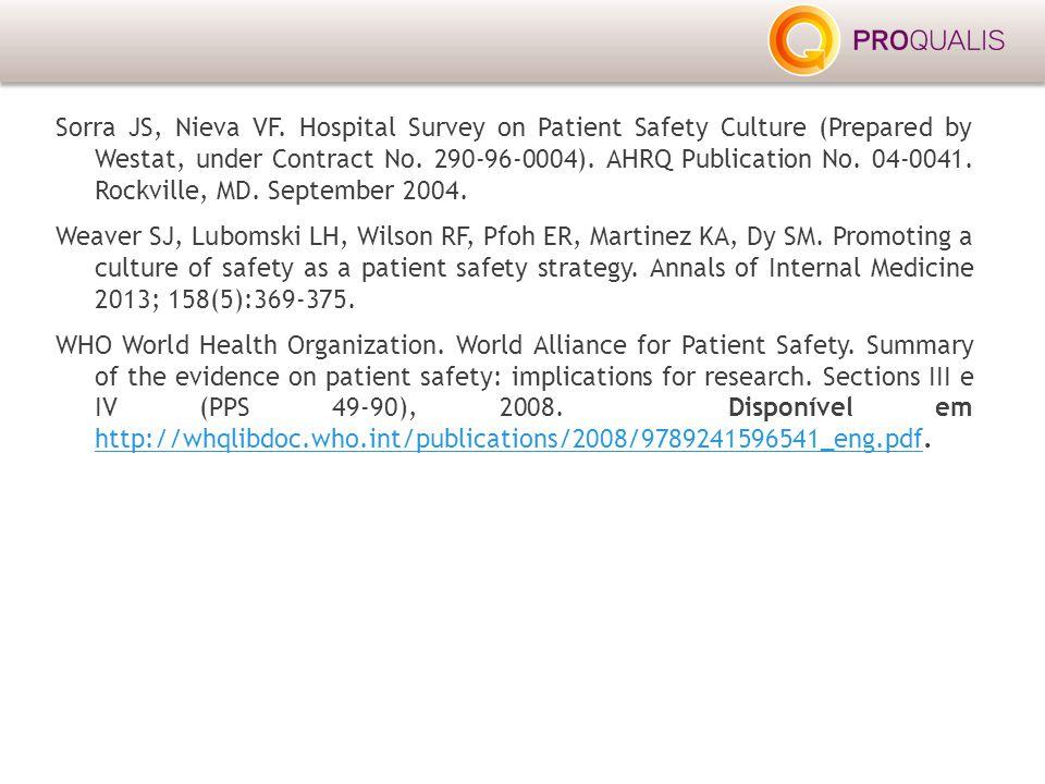 Sorra JS, Nieva VF. Hospital Survey on Patient Safety Culture (Prepared by Westat, under Contract No. 290-96-0004). AHRQ Publication No. 04-0041. Rock