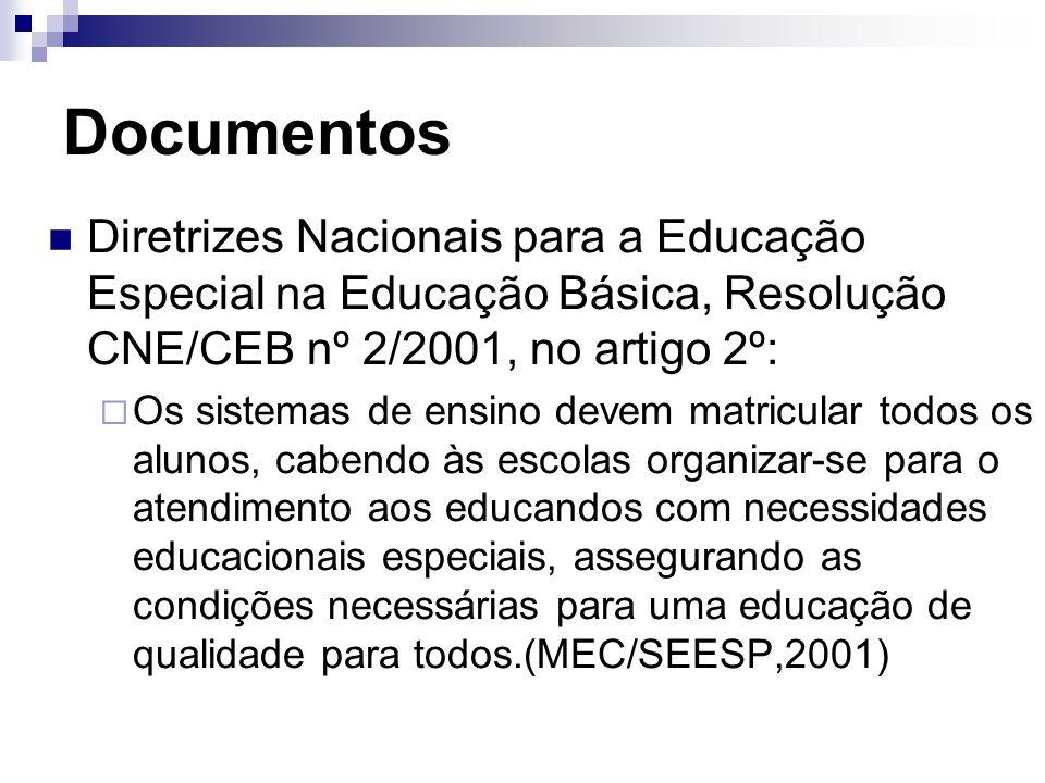 Documentos Diretrizes Nacionais para a Educação Especial na Educação Básica, Resolução CNE/CEB nº 2/2001, no artigo 2º:  Os sistemas de ensino devem matricular todos os alunos, cabendo às escolas organizar-se para o atendimento aos educandos com necessidades educacionais especiais, assegurando as condições necessárias para uma educação de qualidade para todos.(MEC/SEESP,2001)