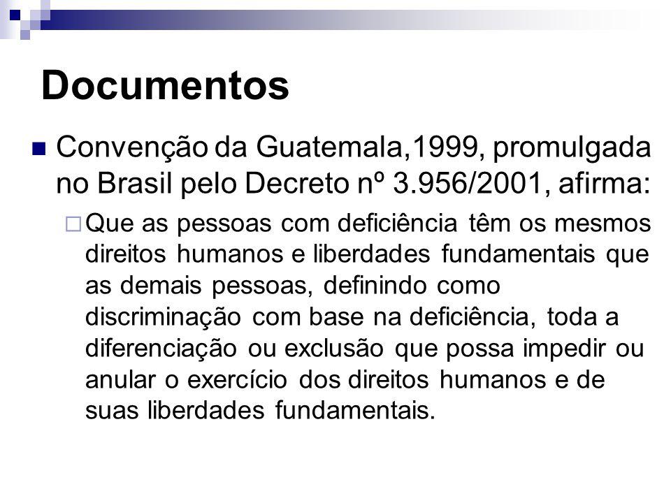 Documentos Convenção da Guatemala,1999, promulgada no Brasil pelo Decreto nº 3.956/2001, afirma:  Que as pessoas com deficiência têm os mesmos direitos humanos e liberdades fundamentais que as demais pessoas, definindo como discriminação com base na deficiência, toda a diferenciação ou exclusão que possa impedir ou anular o exercício dos direitos humanos e de suas liberdades fundamentais.