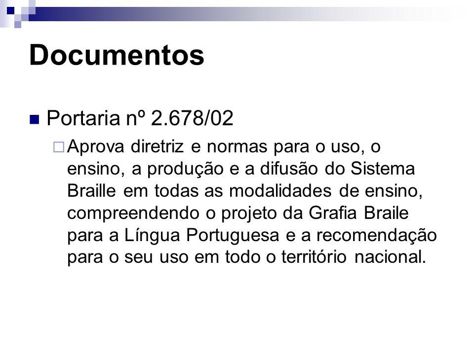 Documentos Portaria nº 2.678/02  Aprova diretriz e normas para o uso, o ensino, a produção e a difusão do Sistema Braille em todas as modalidades de ensino, compreendendo o projeto da Grafia Braile para a Língua Portuguesa e a recomendação para o seu uso em todo o território nacional.