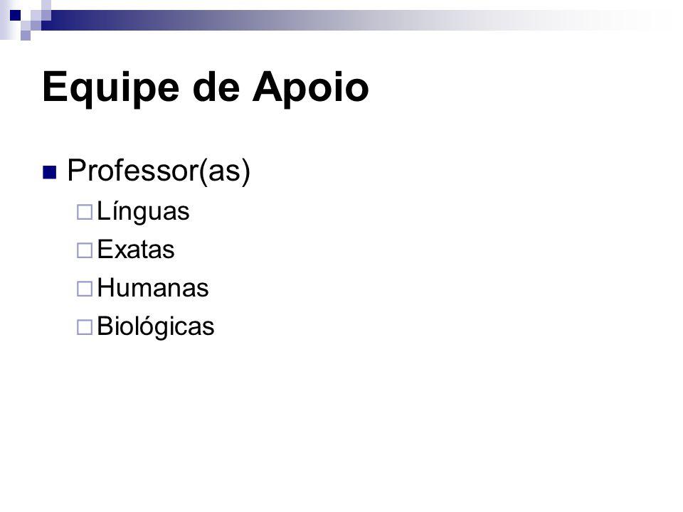 Equipe de Apoio Professor(as)  Línguas  Exatas  Humanas  Biológicas