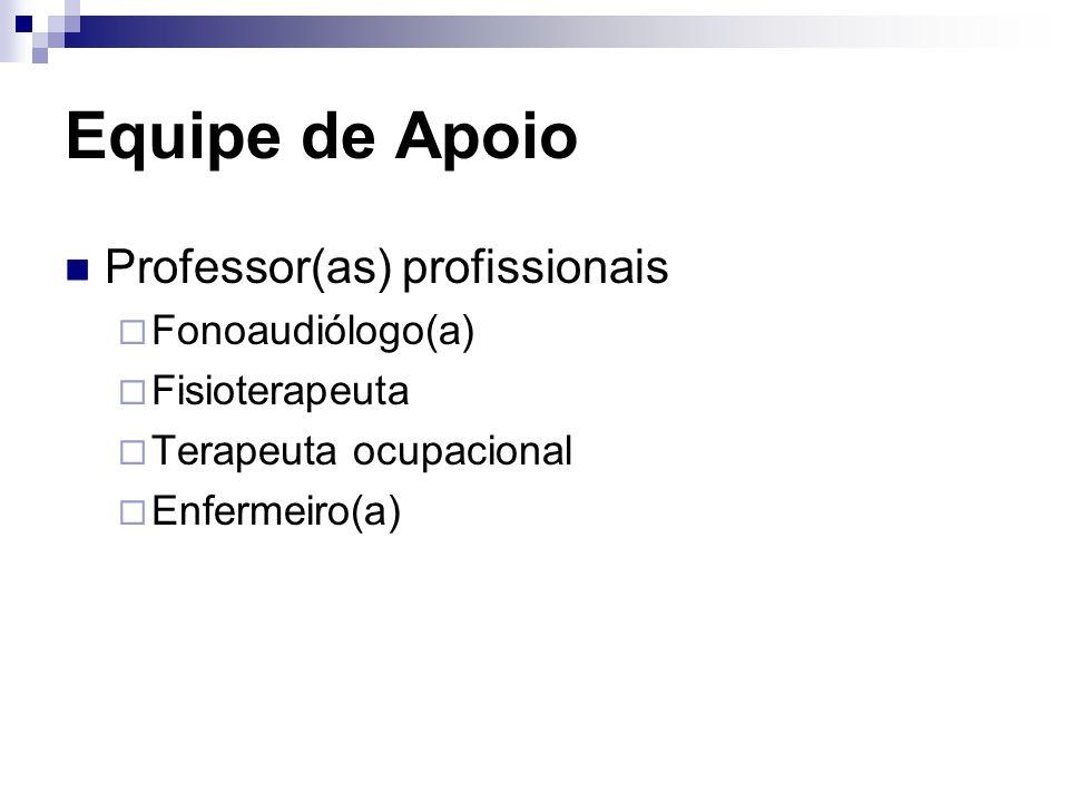Equipe de Apoio Professor(as) profissionais  Fonoaudiólogo(a)  Fisioterapeuta  Terapeuta ocupacional  Enfermeiro(a)