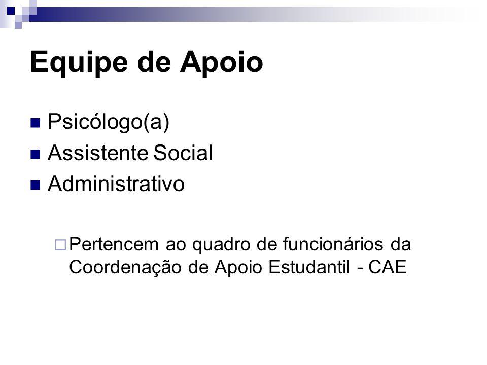 Equipe de Apoio Psicólogo(a) Assistente Social Administrativo  Pertencem ao quadro de funcionários da Coordenação de Apoio Estudantil - CAE