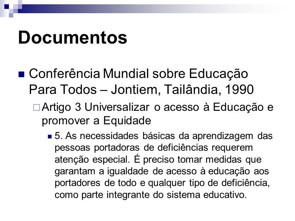 Documentos Conferência Mundial sobre Educação Para Todos – Jontiem, Tailândia, 1990  Artigo 3 Universalizar o acesso à Educação e promover a Equidade 5.