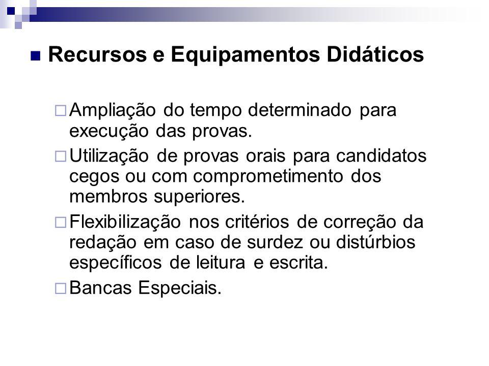 Recursos e Equipamentos Didáticos  Ampliação do tempo determinado para execução das provas.