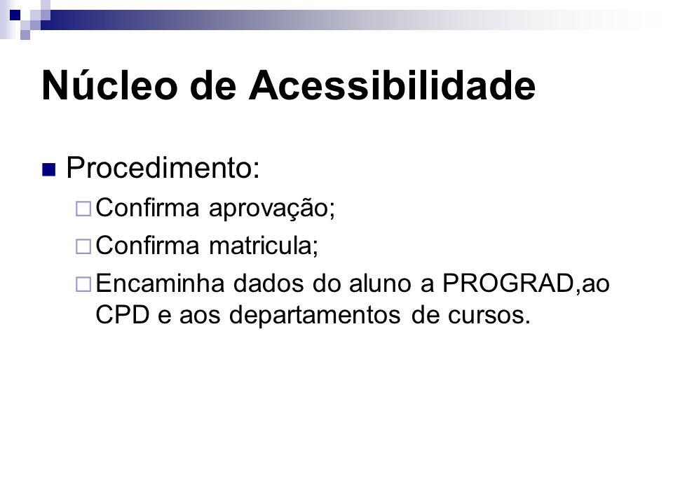 Núcleo de Acessibilidade Procedimento:  Confirma aprovação;  Confirma matricula;  Encaminha dados do aluno a PROGRAD,ao CPD e aos departamentos de cursos.
