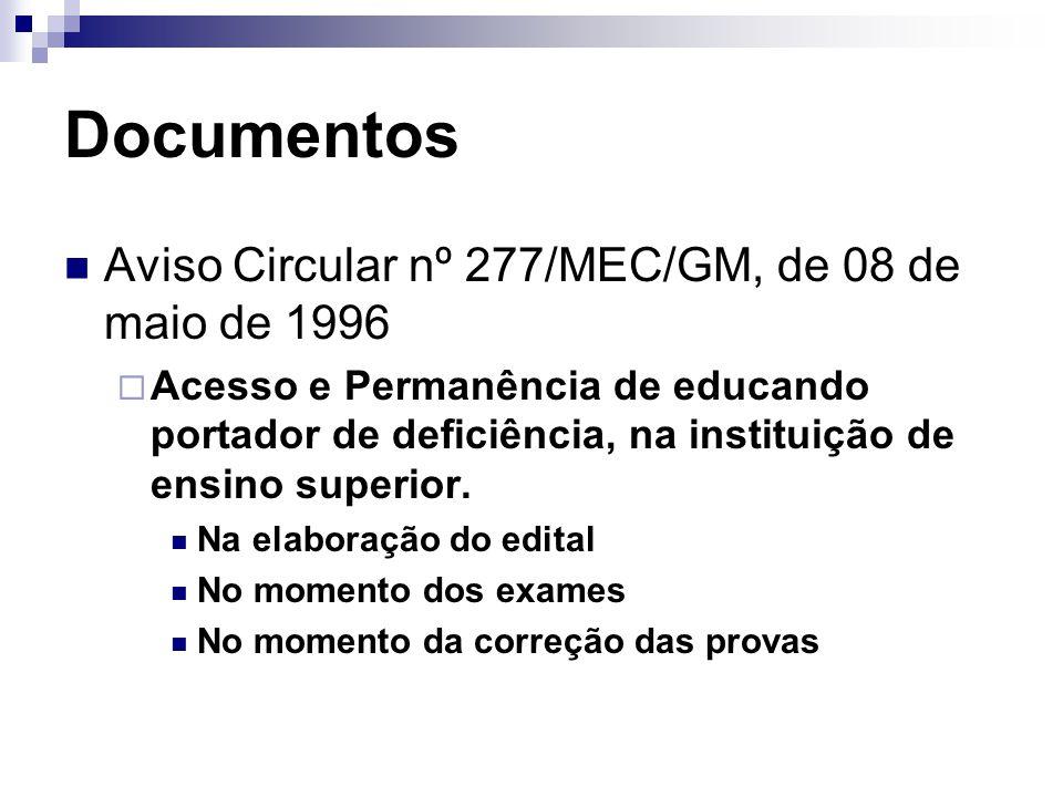 Documentos Aviso Circular nº 277/MEC/GM, de 08 de maio de 1996  Acesso e Permanência de educando portador de deficiência, na instituição de ensino superior.