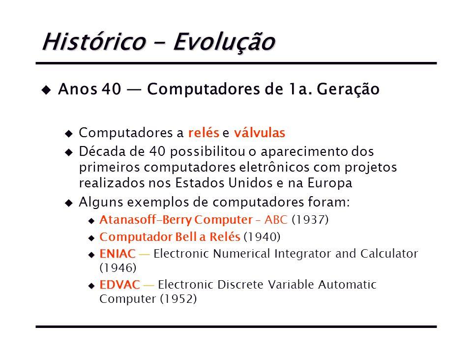 Histórico - Evolução u Anos 40 — Computadores de 1a.
