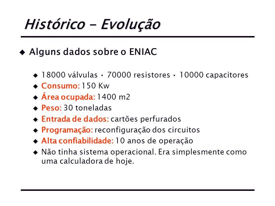 Histórico - Evolução u Alguns dados sobre o ENIAC u 18000 válvulas 70000 resistores 10000 capacitores u Consumo: u Consumo: 150 Kw u Área ocupada: u Área ocupada: 1400 m2 u Peso: u Peso: 30 toneladas u Entrada de dados: u Entrada de dados: cartões perfurados u Programação: u Programação: reconfiguração dos circuitos u Alta confiabilidade: u Alta confiabilidade: 10 anos de operação u Não tinha sistema operacional.