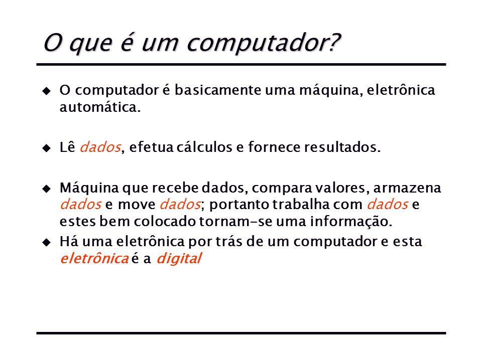 O que é um computador.u O computador é basicamente uma máquina, eletrônica automática.