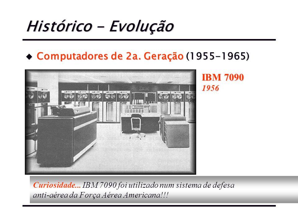 Histórico - Evolução u Computadores de 2a.Geração (1955-1965) IBM 7090 1956 Curiosidade...