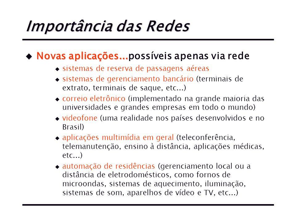 Importância das Redes u Novas aplicações...