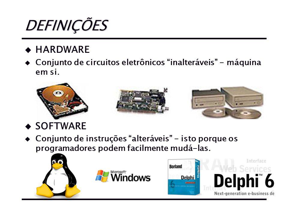 DEFINIÇÕES u HARDWARE u Conjunto de circuitos eletrônicos inalteráveis - máquina em si.