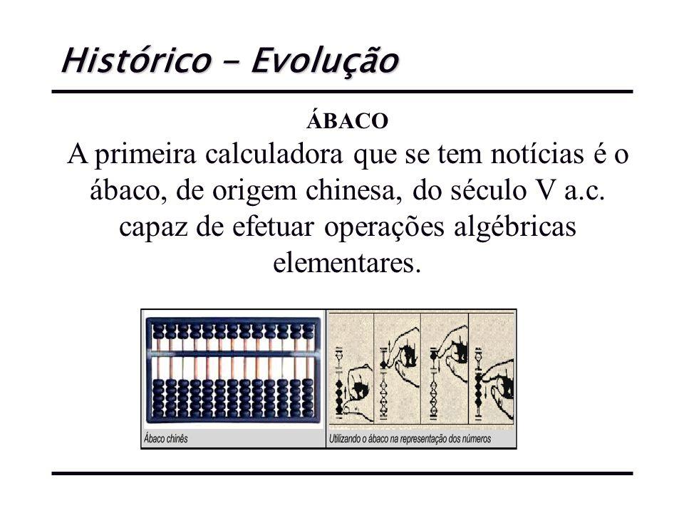 Histórico - Evolução ÁBACO A primeira calculadora que se tem notícias é o ábaco, de origem chinesa, do século V a.c.