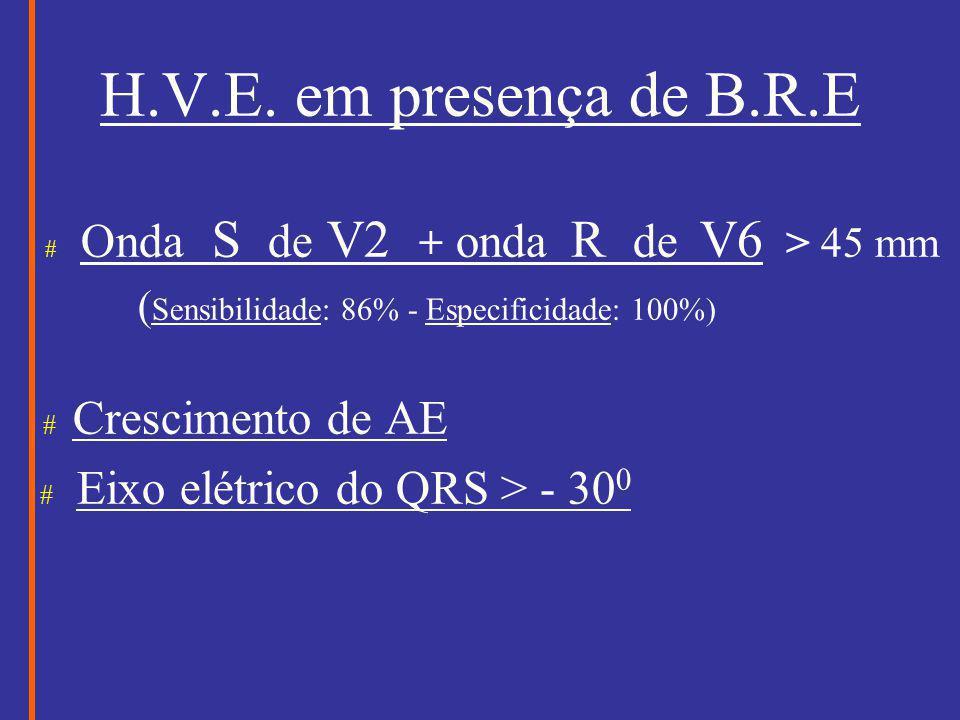 H.V.E. em presença de B.R.E # Onda S de V2 + onda R de V6 > 45 mm ( Sensibilidade: 86% - Especificidade: 100%) # Crescimento de AE # Eixo elétrico do