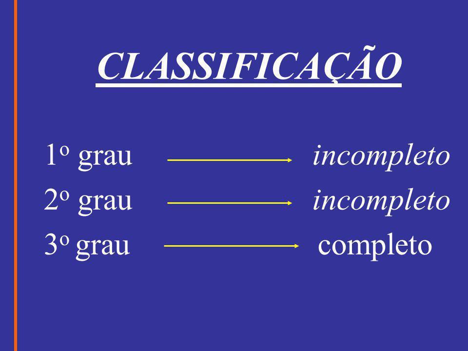 CLASSIFICAÇÃO 1 o grau incompleto 2 o grau incompleto 3 o grau completo