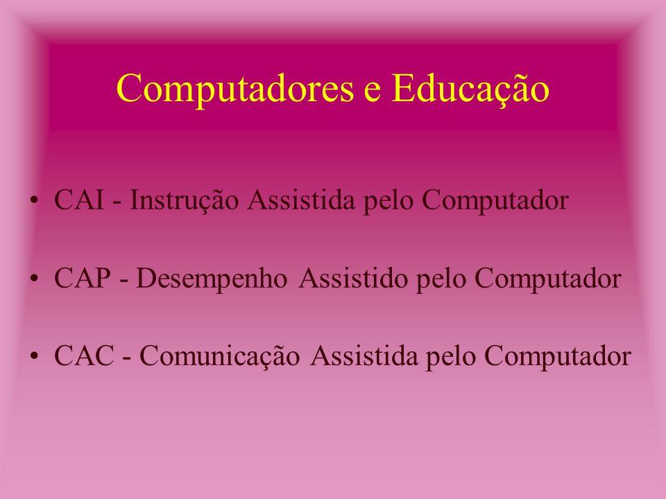 Computadores e Educação CAI - Instrução Assistida pelo Computador CAP - Desempenho Assistido pelo Computador CAC - Comunicação Assistida pelo Computador