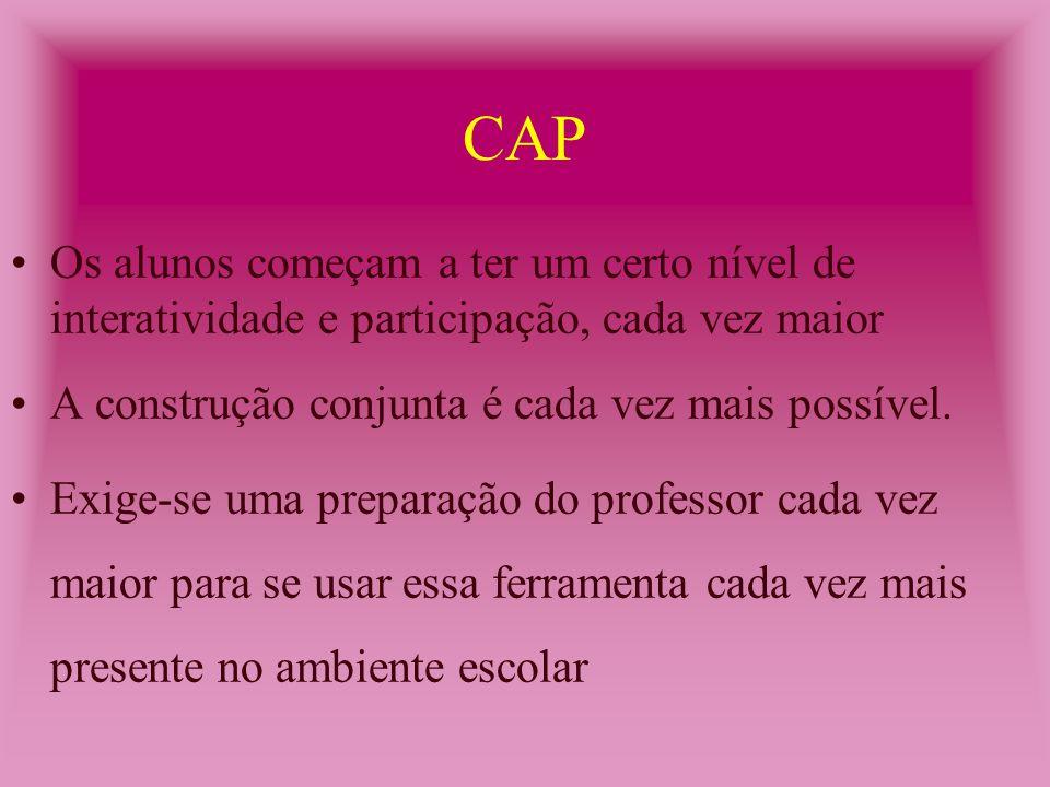 CAI O professor só supervisiona, os alunos são passivos e o computador dirige a instrução.