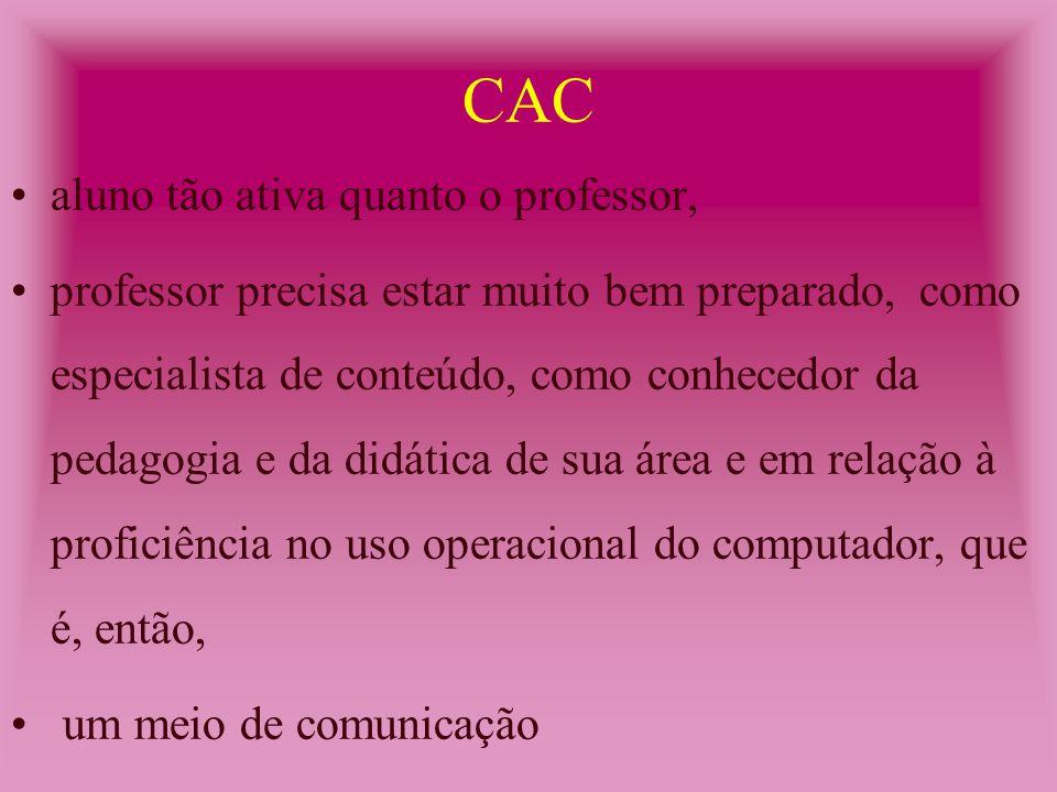 aluno tão ativa quanto o professor, professor precisa estar muito bem preparado, como especialista de conteúdo, como conhecedor da pedagogia e da didática de sua área e em relação à proficiência no uso operacional do computador, que é, então, um meio de comunicação CAC