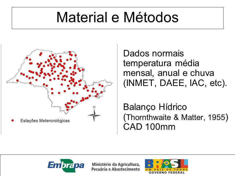 Material e Métodos Dados normais temperatura média mensal, anual e chuva (INMET, DAEE, IAC, etc). Balanço Hídrico ( Thornthwaite & Matter, 1955 ) CAD