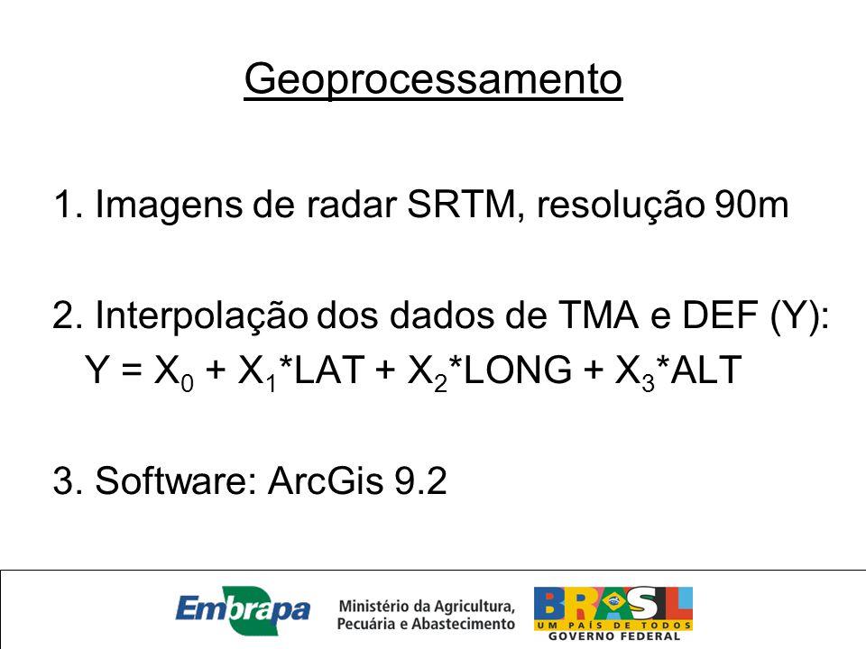 Geoprocessamento 1. Imagens de radar SRTM, resolução 90m 2. Interpolação dos dados de TMA e DEF (Y): Y = X 0 + X 1 *LAT + X 2 *LONG + X 3 *ALT 3. Soft
