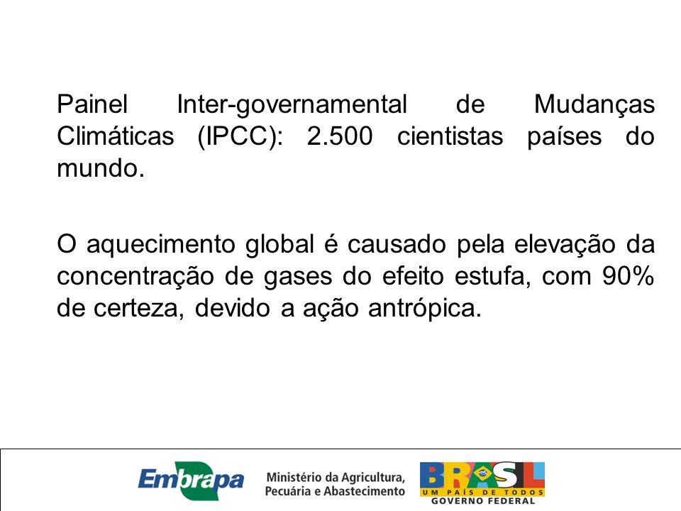 Painel Inter-governamental de Mudanças Climáticas (IPCC): 2.500 cientistas países do mundo. O aquecimento global é causado pela elevação da concentraç