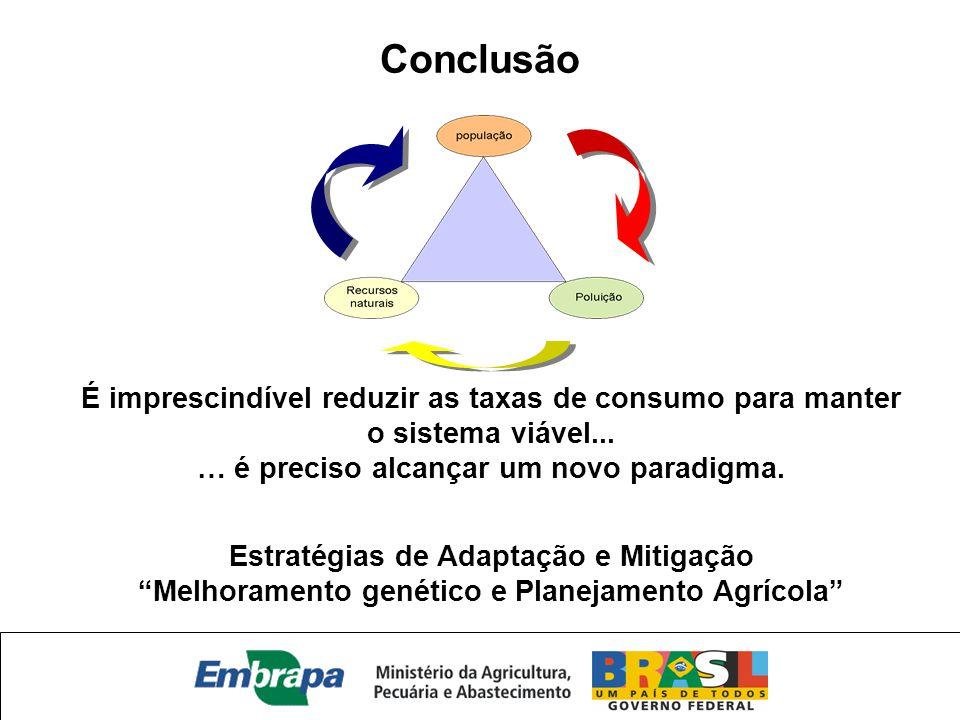 Conclusão É imprescindível reduzir as taxas de consumo para manter o sistema viável... … é preciso alcançar um novo paradigma. Estratégias de Adaptaçã