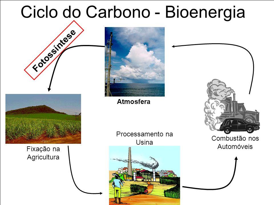 Ciclo do Carbono - Bioenergia Fotossíntese CO 2 Atmosfera Fixação na Agricultura Processamento na Usina Combustão nos Automóveis