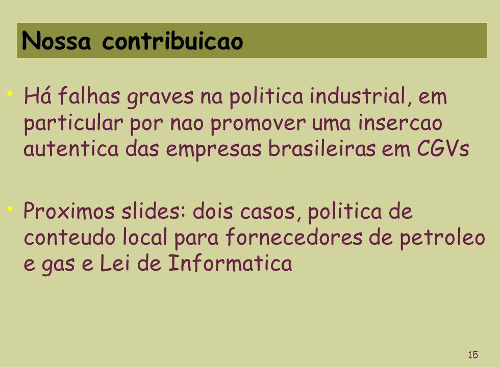 Nossa contribuicao Há falhas graves na politica industrial, em particular por nao promover uma insercao autentica das empresas brasileiras em CGVs Proximos slides: dois casos, politica de conteudo local para fornecedores de petroleo e gas e Lei de Informatica 15