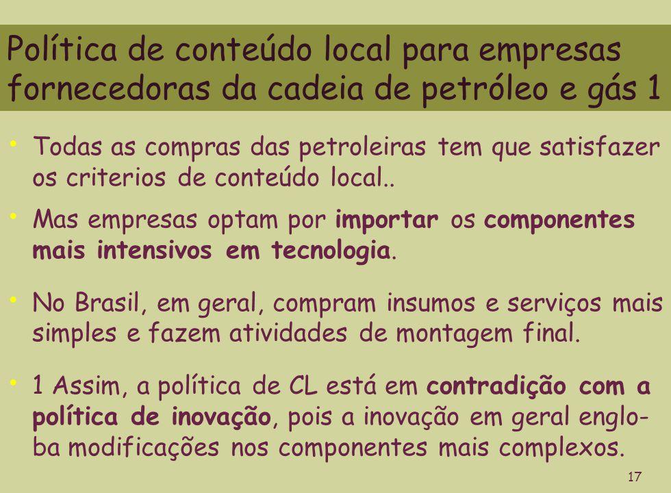 Política de conteúdo local para empresas fornecedoras da cadeia de petróleo e gás 1 17 Todas as compras das petroleiras tem que satisfazer os criterios de conteúdo local..