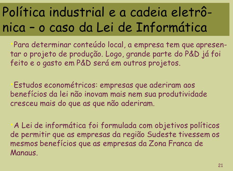Política industrial e a cadeia eletrô- nica – o caso da Lei de Informática 21 Para determinar conteúdo local, a empresa tem que apresen- tar o projeto de produção.
