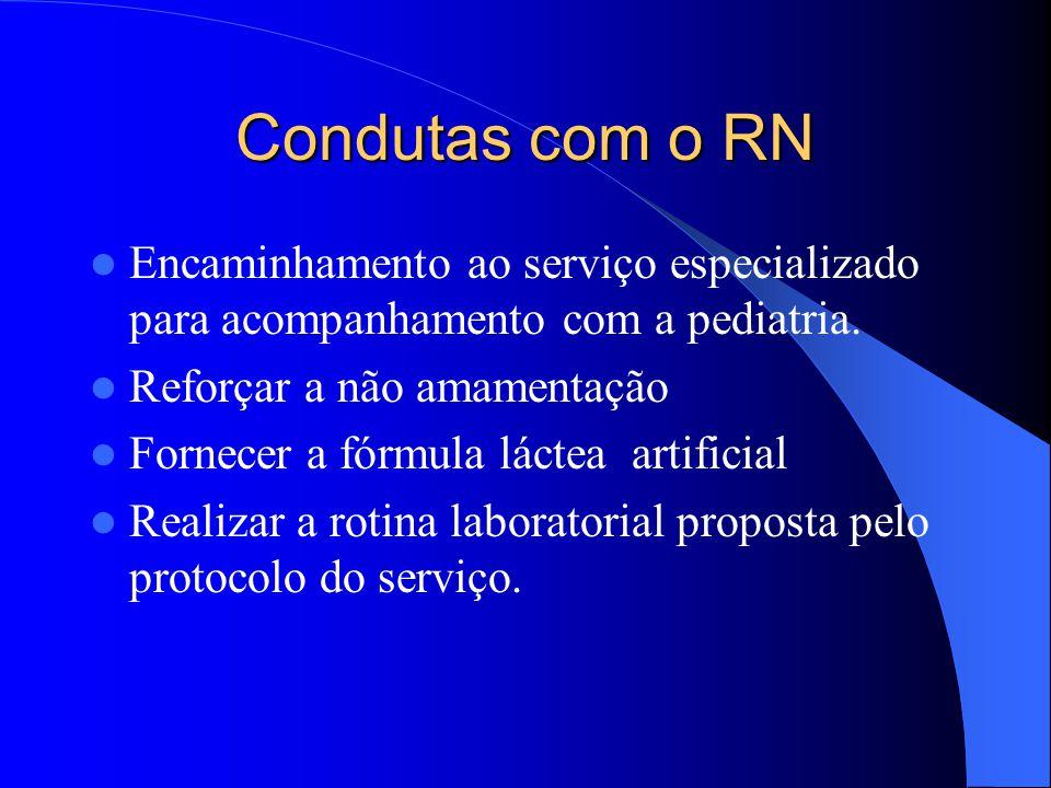 Condutas com o RN Encaminhamento ao serviço especializado para acompanhamento com a pediatria.