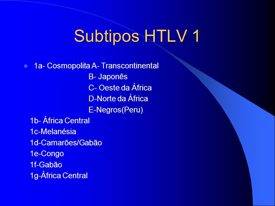 Subtipos HTLV 1 1a- Cosmopolita A- Transcontinental B- Japonês C- Oeste da África D-Norte da África E-Negros(Peru) 1b- África Central 1c-Melanésia 1d-Camarões/Gabão 1e-Congo 1f-Gabão 1g-África Central