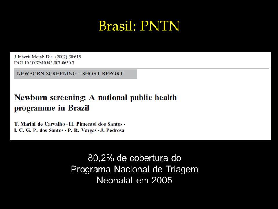 Brasil: PNTN 80,2% de cobertura do Programa Nacional de Triagem Neonatal em 2005