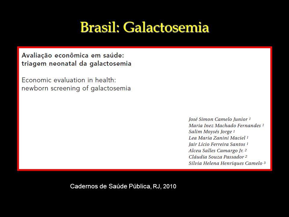 Brasil: Galactosemia Cadernos de Saúde Pública, RJ, 2010