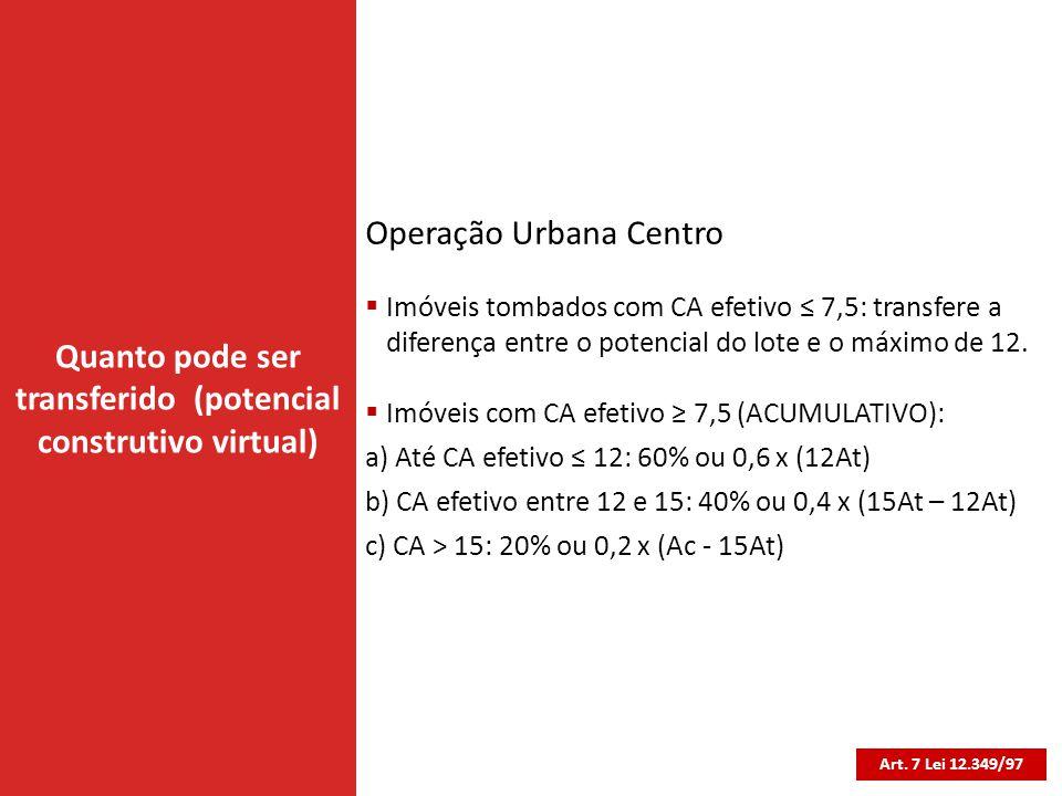 Quanto pode ser transferido (potencial construtivo virtual) Art. 7 Lei 12.349/97 Operação Urbana Centro  Imóveis tombados com CA efetivo ≤ 7,5: trans