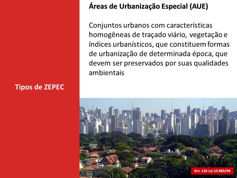 Tipos de ZEPEC Áreas de Urbanização Especial (AUE) Conjuntos urbanos com características homogêneas de traçado viário, vegetação e índices urbanístico