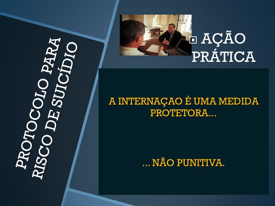 PROTOCOLO PARA RISCO DE SUICÍDIO  AÇÃO PRÁTICA A INTERNAÇAO É UMA MEDIDA PROTETORA...... NÃO PUNITIVA.